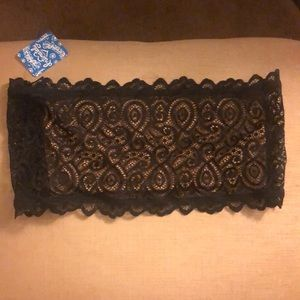 Bandeau two toned black lace nude free people